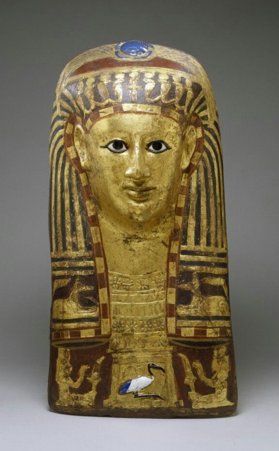 Mummy mask of a woman. Painted cartonnage, gold leaf, and glass inlays. Greco-Roman Period. 50 B.C.-A.D. 50 | The Walters Art Museum