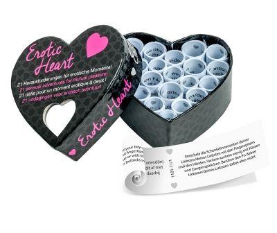 tease & please   Erotic Heart mini Einundzwanzig sinnliche Abenteuer für ein gemeinsames Vergnügen  Mit dem Erotik-Herz könnt ihr eure gemeinsamen intimen Momente mit einer Prise voll sinnlicher Spontanität würzen und einen ganz gewöhnlichen Abend in einen Quell voll Vergnügung und Abenteuer verwandeln.  Das Erotik-Herz ist eine herzförmige Box, die einundzwanzig einladende Aufgaben für dich und deinen Partner beinhaltet.