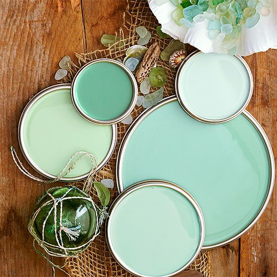 "•Sea Glass Green Paint Colors  L.A. designer Sasha Emerson may have finally pinpointed why so many of us love, even obsess over, this soft blue-green color: It makes you feel good, which is why you see it in a lot of spas, Emerson says.   If the ideal color is just in your head, ""think pale, because if you go too bright you're heading into turquoise or mint."" Love these colors? Click here to get the paint color names."