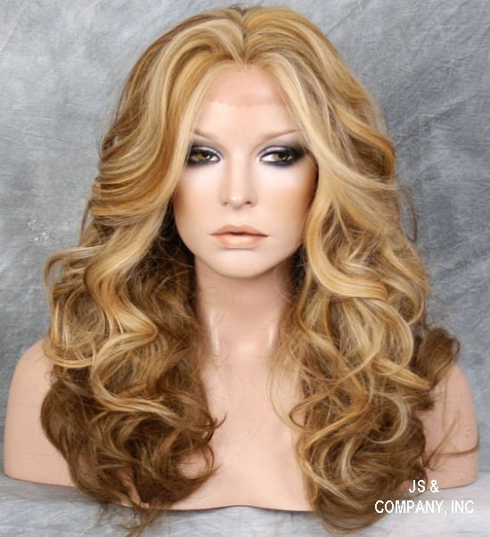 Dark Light Blonde Mix Heat Safe Lace Front Wig Curly Long