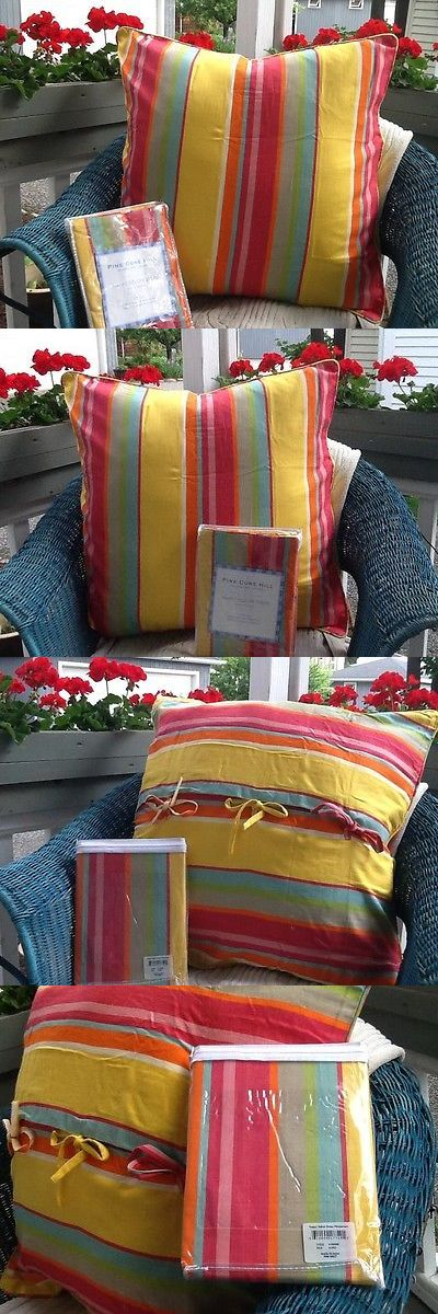 Pillow Shams 43397: 2~ Pine Cone Hill ~Happy Yellow Stripe ~Pillow Shams~Size Euro~ Nwt -> BUY IT NOW ONLY: $31 on eBay!