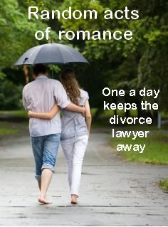 Great advice - how to get more romance in your life with tiny acts of romance each day.
