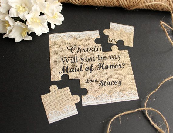 Will You Be My Maid of Honor Puzzle Burlap and Lace by AniArts