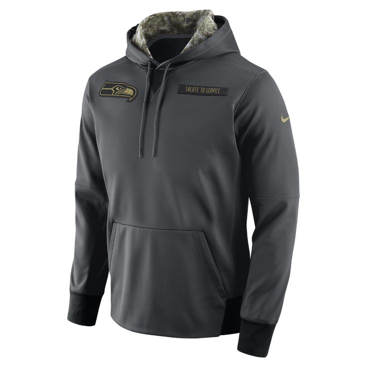 Nike Salute to Service Fleece Pullover (NFL Seahawks) Men's Hoodie Size Large (Black) - Clearance Sale