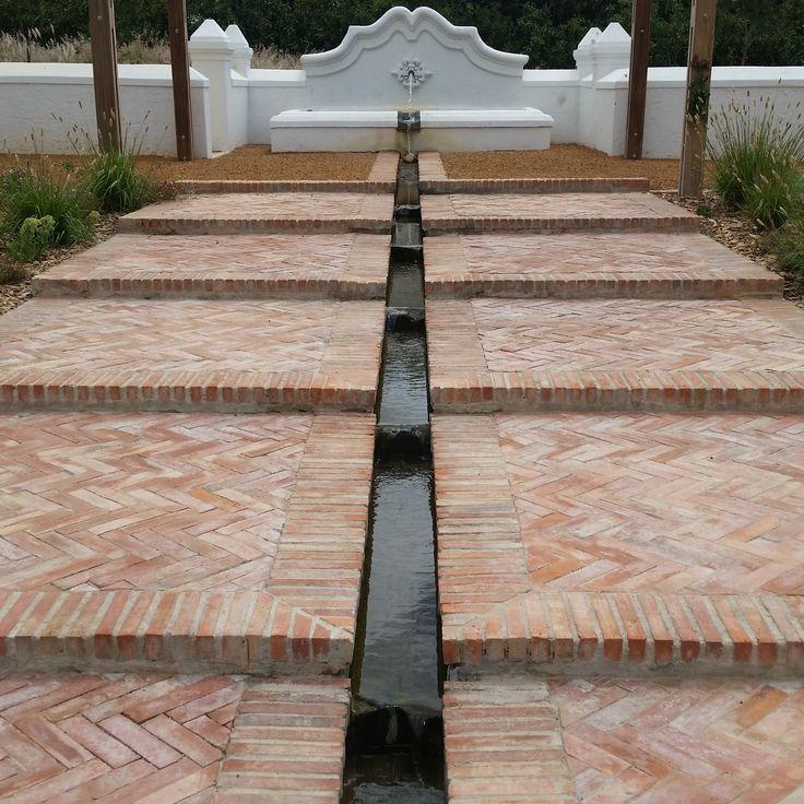 Lanes Ceramic Works klompie bricks laid in herringbone pattern at Vrede en Lust