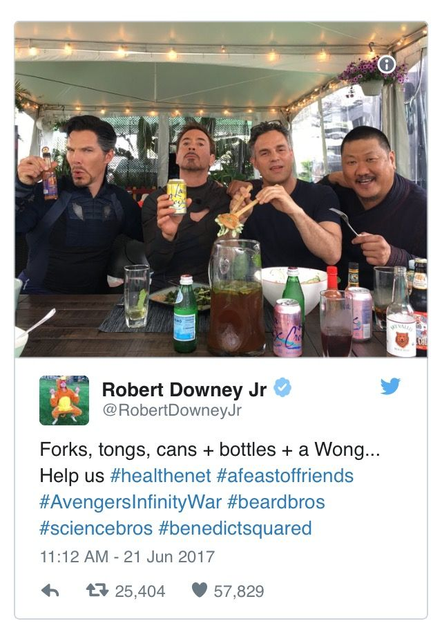 from the set of Avengers: Infinity War. The photo, taken during downtime between takes, features Benedict Cumberbatch (Doctor Strange), Mark Ruffalo (Bruce Banner/The Hulk), Benedict Wong (Wong) and Downey himself, sharing a laugh over drinks.
