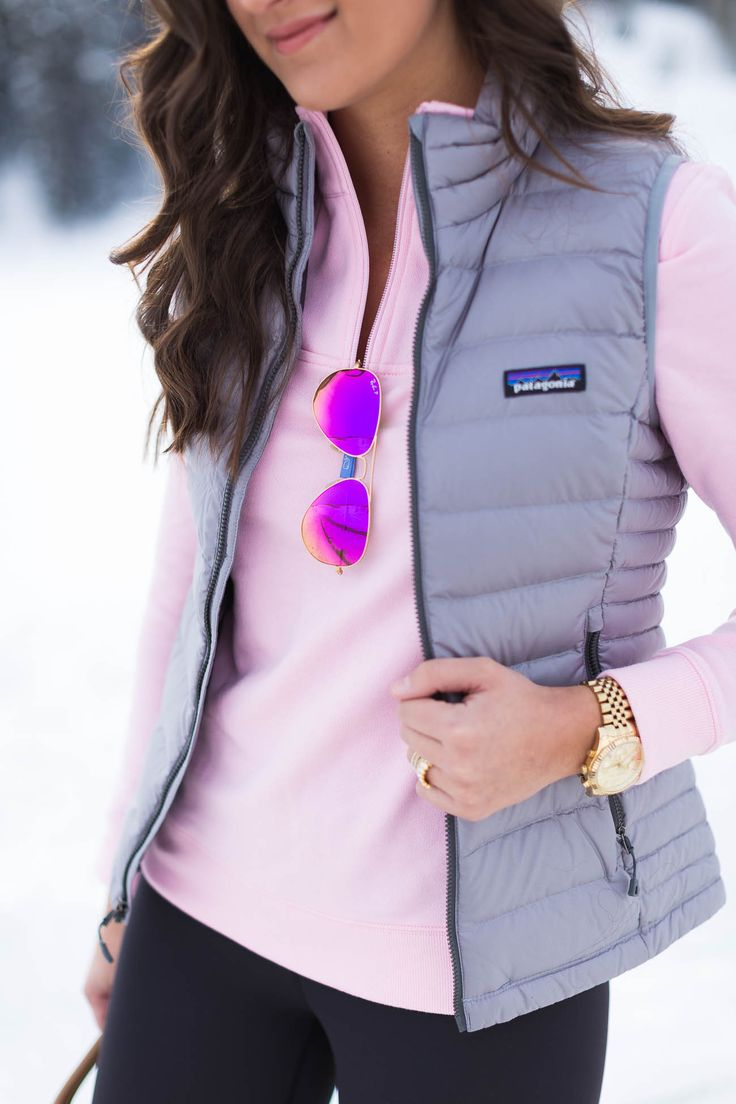 vineyard vines shep pullover, pink mirror aviators,  patagonia packable down sweater vest, winter outfit ideas // grace wainwright from a southern drawl