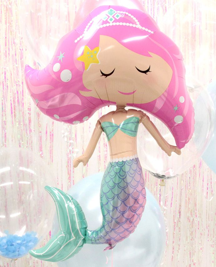 This supershape mermaid balloon would be the perfect decoration for a mermaid party! Make it a showstopper with an iridescent backdrop and clear balloons that will create an underwater feel. Browse even more mermaid party decorations at partydelights.co.uk.