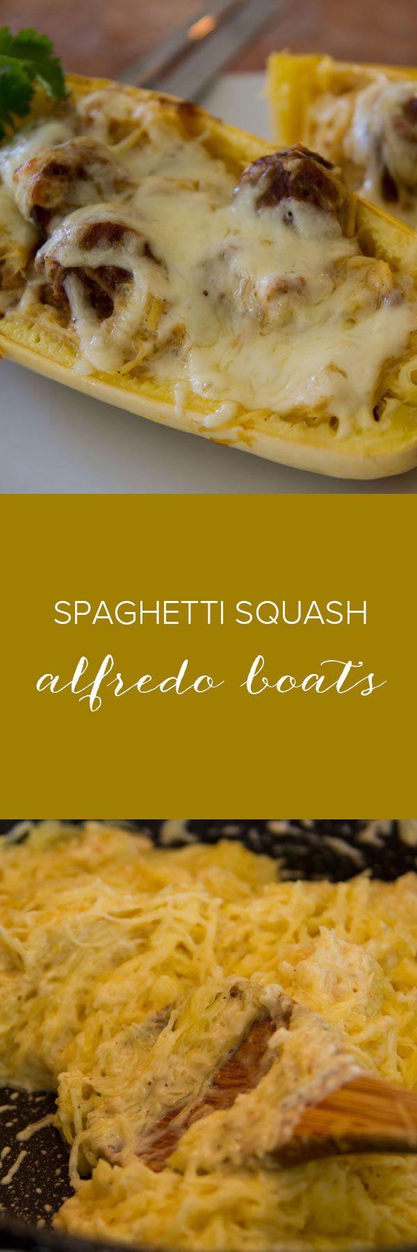 Spaghetti Squash Alfredo Boats