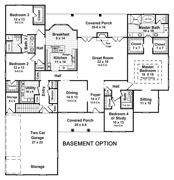 This is the floor plan I want but I don't want the 2 bedrooms to have joining baths, just one door and the study doesn't need a bathroom and add French doors:)