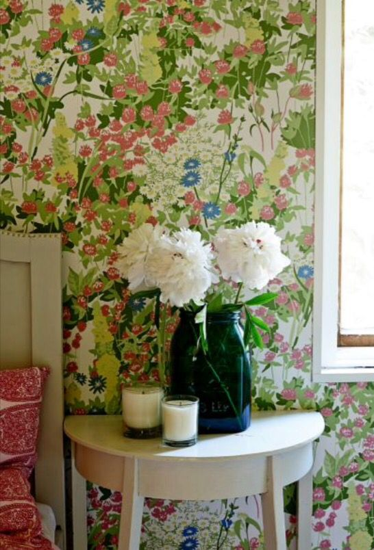 "This flowery wallpaper is from our feature ""Labour of Love"""