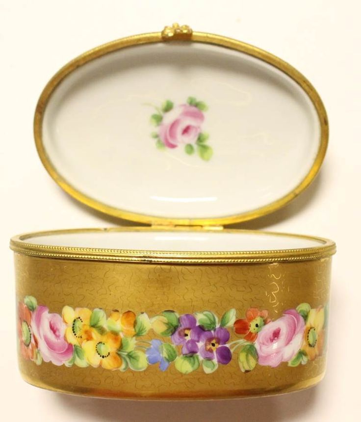 Antique Le Tallec French Porcelain Trinket Box Gold Floral Hand Painted Signed | eBay