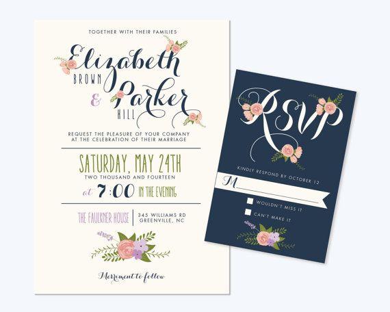 Printable Wedding Invitation Bundle // Cute Floral Invite // RSVP // Thank  You