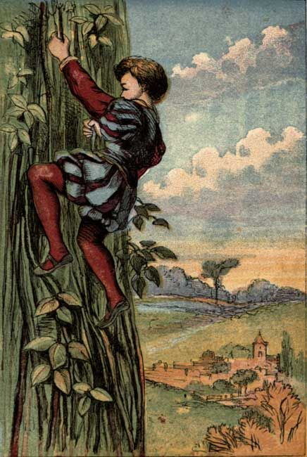 Original vintage illustration of boy climbing the bean stalk for kids story Jack and the Beanstalk