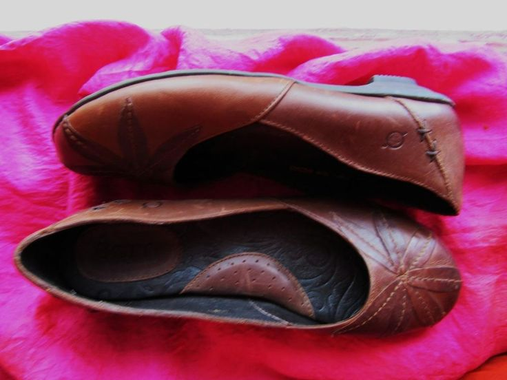 BORN SHOES RUSTY  BROWN LEATHER LOAFERS W LOGO !SIZE 9 M /40.5 !MADE IN MEXICO #Brn #LoafersMoccasins
