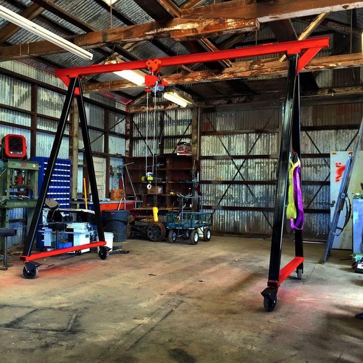 Homemade gantry crane  WELDING AND METAL FABRICATION  Gantry crane Garage workshop a Welding