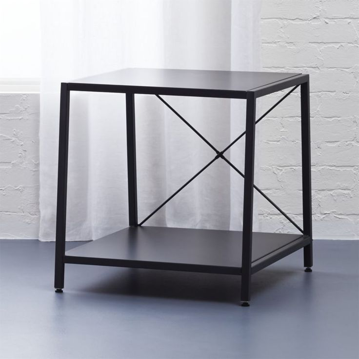 Shop harvey carbon grey nightstand.   Architectural X-brace construction in carbon powdercoat tapers two bed-roomy shelves.  Top's wide, bottom's even wider to stash a ton.  Great proportions.  Levelers included.  Also in chrome.