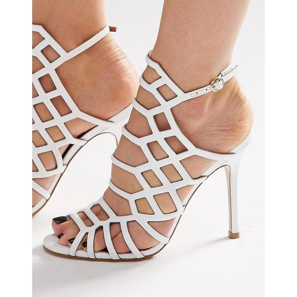 Steve Madden Slither White Patent Caged Heeled Sandals (120 CAD) ❤ liked on Polyvore featuring shoes, sandals, white, steve-madden shoes, strappy heeled sandals, heeled sandals, high heel sandals and strap sandals