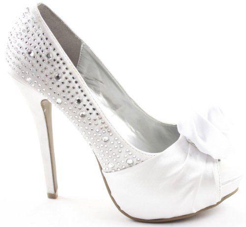 Ladies Platform High Heel Stiletto Peeptoe Diamante Flower Shoes Sandals Size with shoeFashionista Boutique Bag: Amazon.co.uk: Shoes & Bags