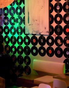 Vinyl record wall decor.  We are doing this in our future home in our music/art room!