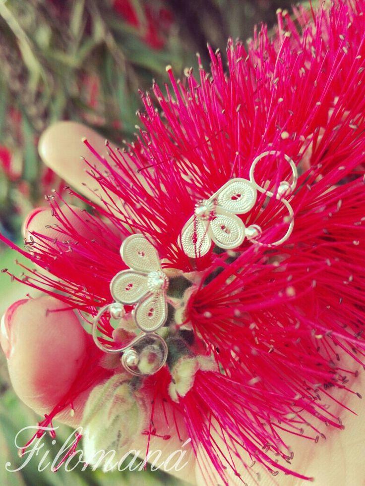 Aretes flordelis en filigrana momposina #joyasunicas #plataley950