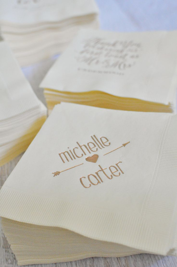 How do you make cocktail hour a little more fun? Personalized napkins. We love them because: a. they're totally affordable b. they come in a million color combos c. three words: ROSE GOLD FOIL (now available!). From www.invitatiosbydawn.com