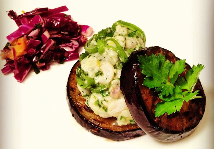 #Ceviche with Grilled #Eggplant