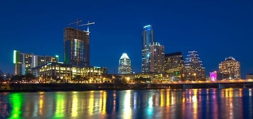 The beautiful Austin, TX skyline at night.  This article lists lots of cool things to do in Austin!