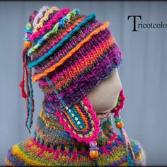"""Reserve bonnet chauffe-oreilles tricotcolor tricoté main en pure laine """" patagonie """""""