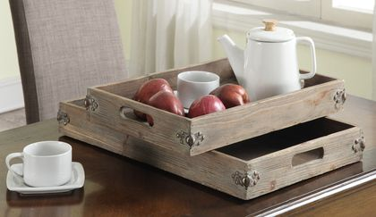 Convenience Concepts Wyoming Two Piece Tray Set in Natural Fir Antique
