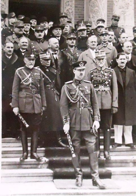 HM King Carol II of Romania (front, with his Marshall stick) at the entrance of the Bucharest Metropolitanate Church, toghether with Marshalls Constantin Prezan and Alexandru Averescu (heroes from WWI - second line) and politician Ion Mihalache (National Peasant's Party - third line, at right) with him.  ROMANIANS ASK FOR THIR MONARCHY BACK! https://www.facebook.com/anrmro and https://plus.google.com/communities/104310617169797130747  ---  Majestatea Sa Regele Carol al II-lea al României (în…