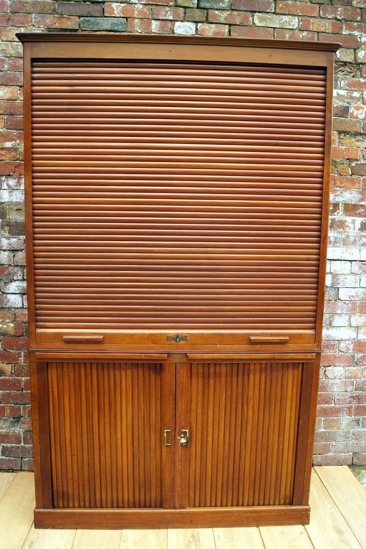 French Oak Tambour Cabinet 1940s