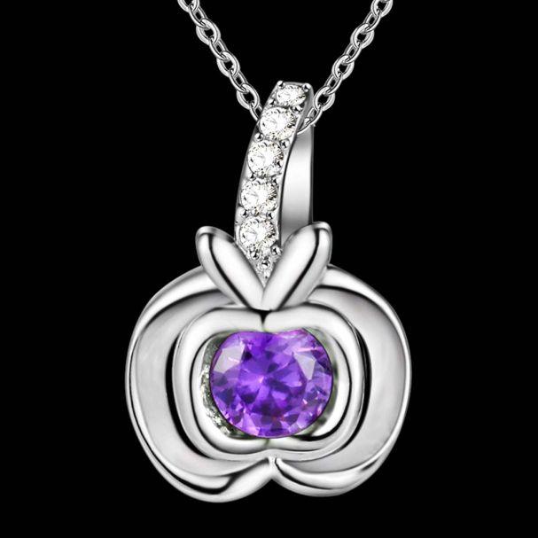 2016 роскошные чистого серебра большой фиолетовый кристалл горный хрусталь яблоко ожерелье кулон для…