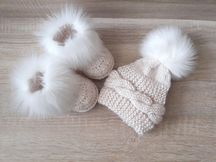 Beige baby hat and booties with white fur - Baby winter clothes - Fur booties - Pom pom hat - Gender neutral baby clothes - Baby gift by HandmadebyInese on Etsy https://www.etsy.com/listing/566005137/beige-baby-hat-and-booties-with-white