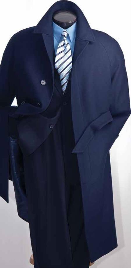 Black top coat navy suit