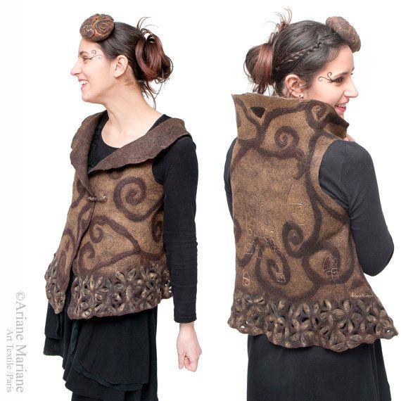 Fatte a mano in Parigi Design Wearable Art donne gilet; Nuno feltro lana seta gilet, unico reversibile indumento di arte tessile, Bolero Convertible vest,