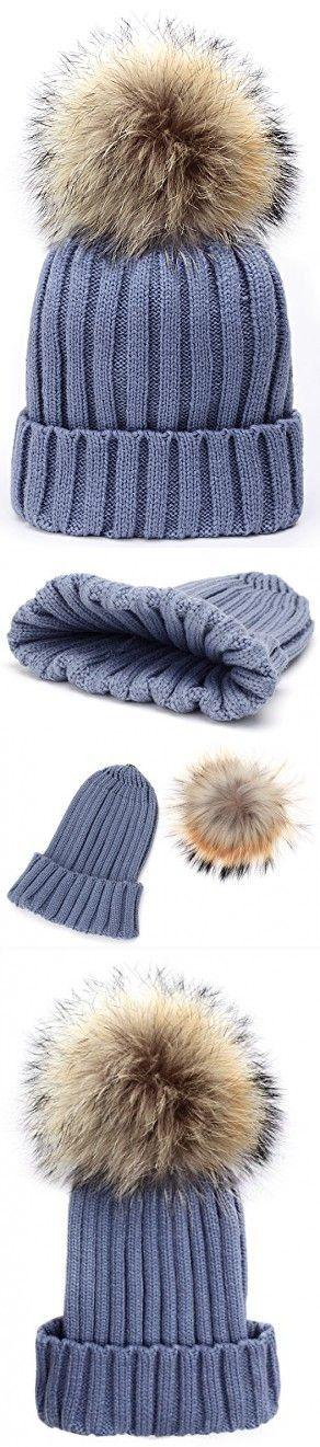 Odema Womens Girls Winter Fur Hat Real Large Raccoon Fur Pom Pom Beanie Winter Hats