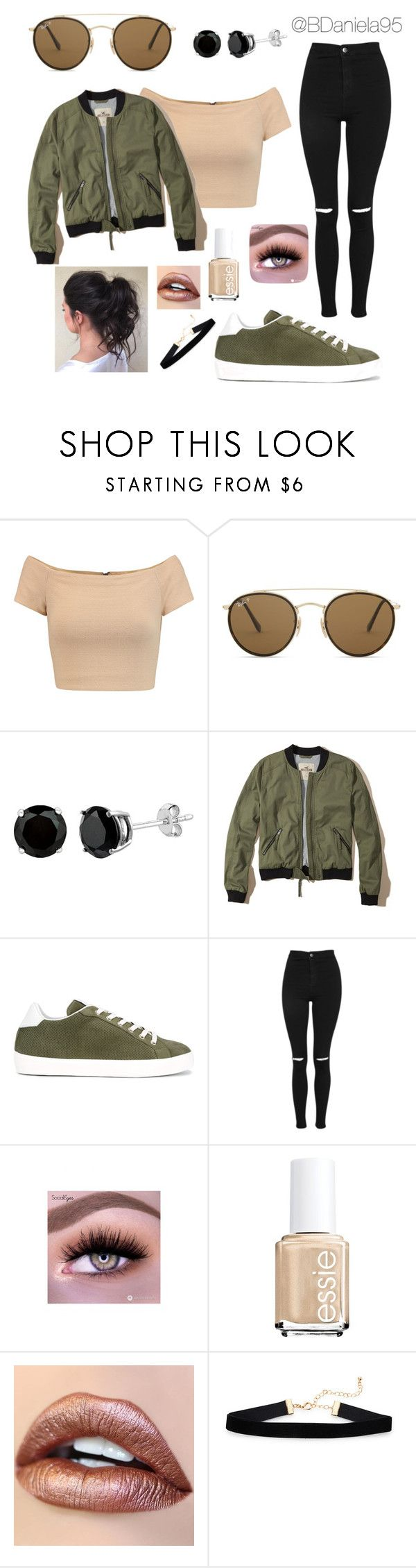 """Untitled #263"" by daniela95140 on Polyvore featuring Alice + Olivia, Ray-Ban, Hollister Co., LEATHER CROWN and Topshop"