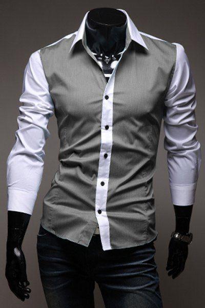 Slimming Trendy Shirt Collar Color Block Splicing Long Sleeve Cotton Shirt For Men