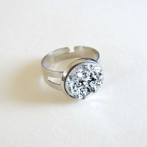 Faux Druzy Ring - Silver only $5 @ OMG! Cute Kitten - Australian Handmade Jewellery