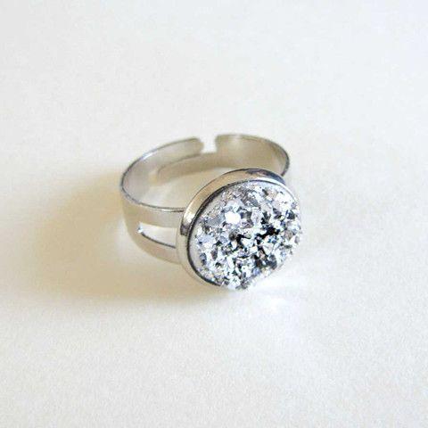 Faux Druzy Ring - Silver only $5 @ OMG! Cute Kitten - Australian Handmade Jewellery