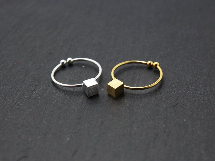 Gold/silver cube rings,tiny cube rings,small squre rings,adjustable rings,dainty square rings,cube rings,friendship rings,layering rings by MYLB on Etsy