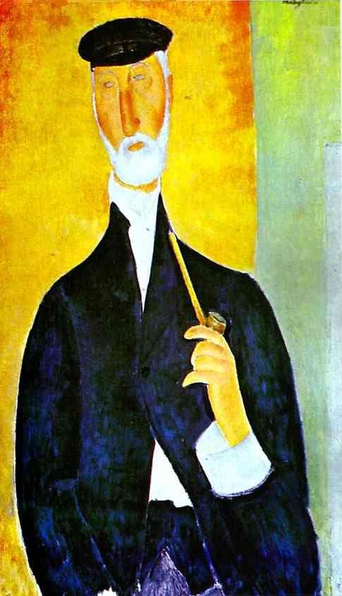 Hombre con pipa (El Notario de Niza) 1918, óleo de Amedeo Modigliani (1884-1920, Italy)                                                                                                                                                      Más