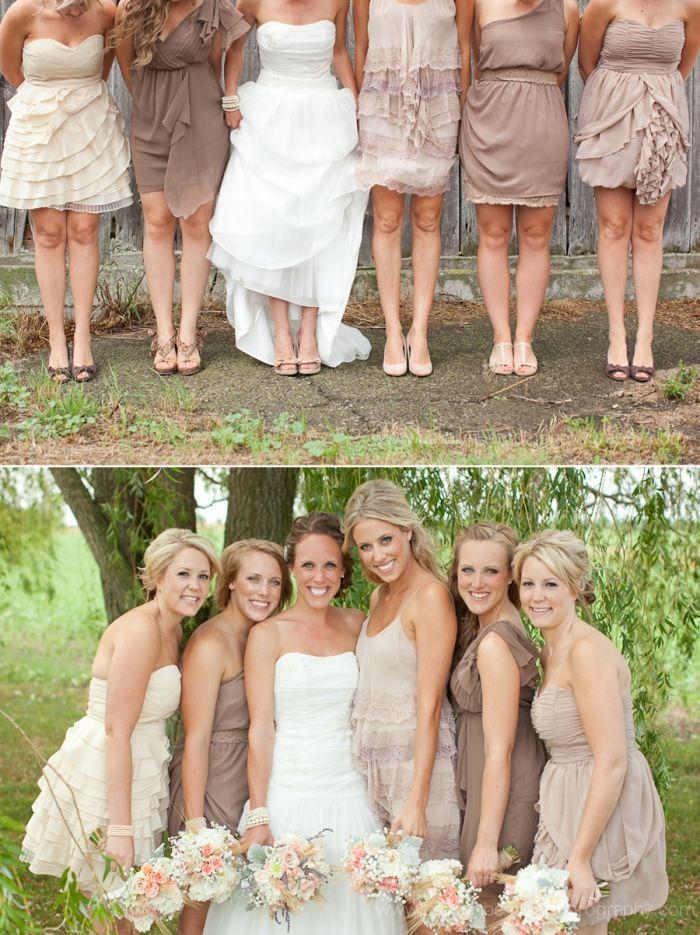 Neutral bridesmaid dresses