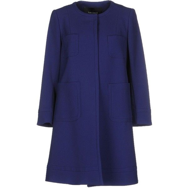Tara Jarmon Coat found on Polyvore featuring outerwear, coats, blue, blue coat, long sleeve coat, tara jarmon, tara jarmon coat and single breasted coat
