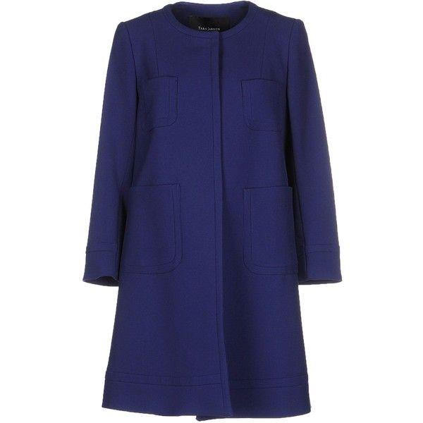 Tara Jarmon Coat found on Polyvore featuring outerwear, coats, blue, blue coat, long sleeve coat, tara jarmon, tara jarmon coat and single breasted coat