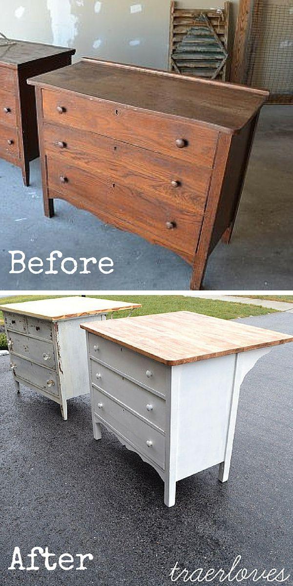 Verwandeln Sie eine Kommode in eine Kücheninsel! #DIY #homedecorideas, #homedec…