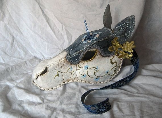 Cerulean- Medieval Destrier Horse Mask, Handmade Wearable Art Knight Unicorn