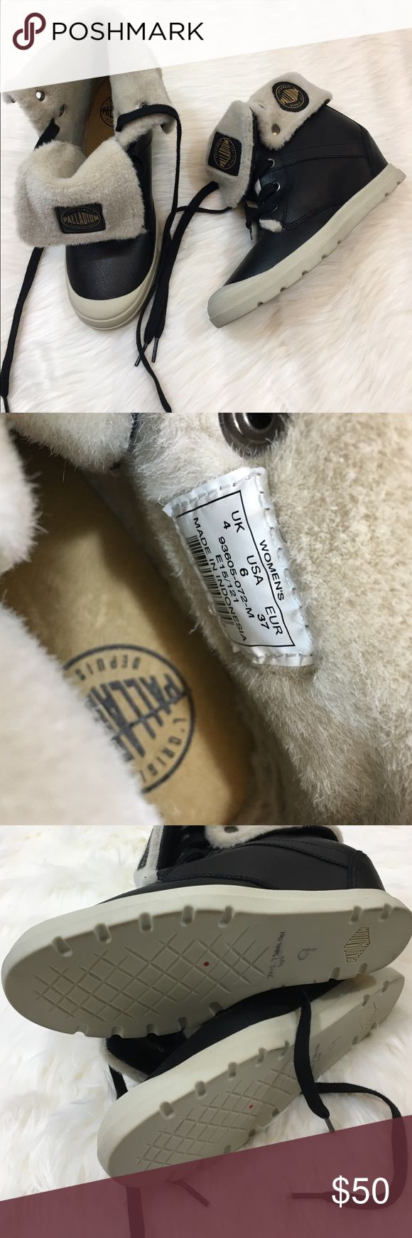 NEW Palladium fur lined wedge booties Brand new never worn. Fur lined. Women's Size 6. Wedge heel Palladium Shoes Ankle Boots & Booties