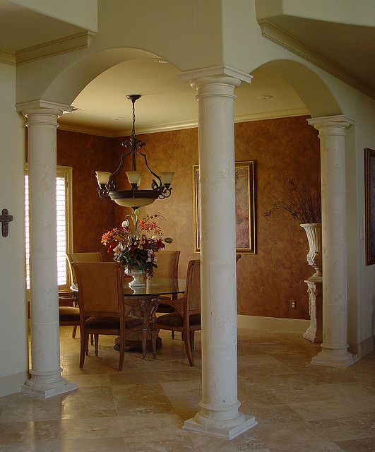 tuscany columns | Tuscan Columns Arched Dining Room | like these colors for dining room and how to handle arches and columns.